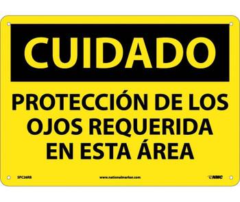 Cuidado Proteccion De Los Ojos Requerida En Esta Area 10X14 Rigid Plastic