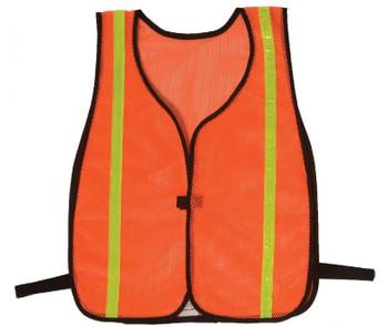 "Safety Vests Fluorescent  Orange Mesh 3/4"" Silver Stripe"
