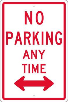 No Parking Any Time (W/Double Arrow) 18X12 .063 Alum