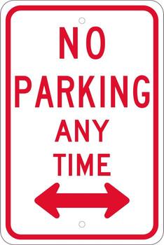 No Parking Any Time (W/Double Arrow) 18X12 .080 Egp Ref Alum