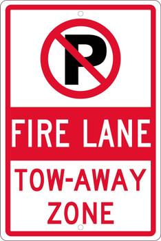No Parking Graphic Fire Lane Tow-Away Zone 18X12 .063 Alum