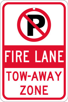 No Parking Graphic Fire Lane Tow-Away Zone 18X12 .080 Hip Ref Alum