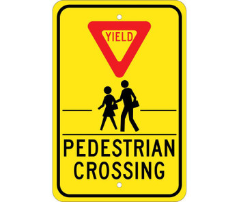 Yield (Graphic) Pedestrian Crosswalk 18X12 .080 Egp Ref Alum