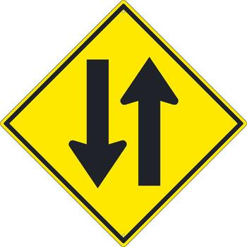 (Two Way Traffic Arrow Graphic) Sign 30X30 .080 Hip Ref Alum