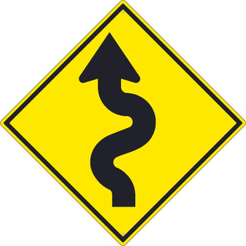 (Arrow Graphic Left)Winding Road  Sign 30X30 .080 Hip Ref Alum