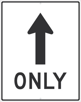 Straight Only (Straight Arrow Graphic)Sign 30X24,.080 Hip Ref Alum