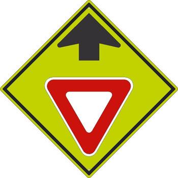 Yield Ahead(Graphic With Arrow)Sign 30X30 .080 Dg Ref Alum