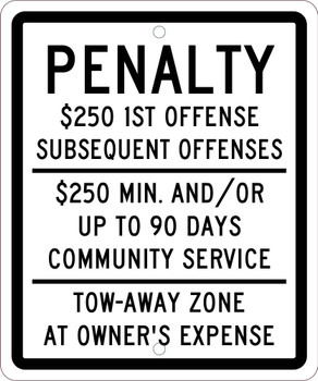 Reserved Parking Penalty 10 X 12 .080 Ref Alum Sign