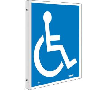 Handicapped Symbol Flanged 10X8 Rigid Plastic