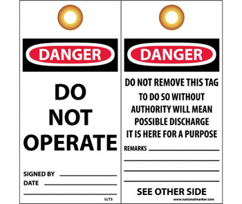 Tag Lockout Danger Do Not Operate Do Not Remove This Tag 6X3 Pack Of 25 Encased Laminated Grommet And Barlocks