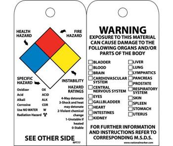 Tags Hazardous Materials Nfpa 6X3 Unrip Vinyl 25/Pk