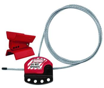 "Butterfly Valve Kit 3"" Adjust 5/32"" Diameter Cable Lockout Butterfly Valve Lockout Red Thermoplastic 4 Holes"