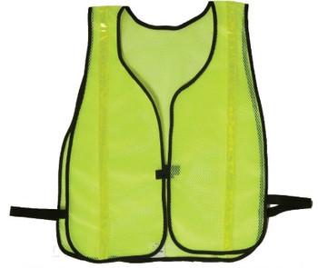 "Safety Vests Fluor Lime Green Mesh 3/4"" Silver Stripes"