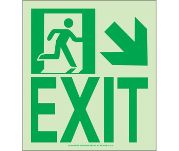 NYC Wall Mount Exit Sign Down Right 9X8 Flex 7550 Glo Brite MEA Approved