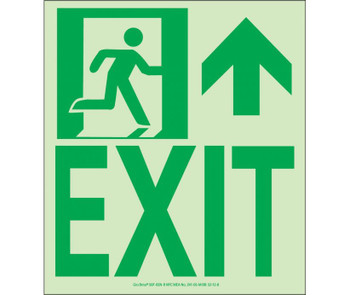 NYC Wall Mount Exit Sign Forward/Right Side 9X8 Flex 7550 Glo Brite MEA Approved