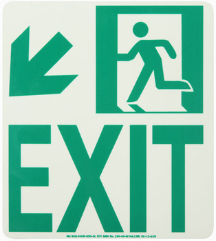 NYC Wall Mont Exit Sign Down Left 9X8 Rigid 7550 Glo Brite MEA Approved