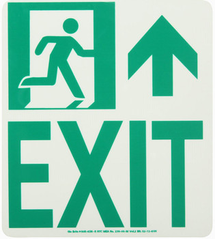 NYC Wall Mont Exit Sign Forward/Right Side 9X8 Rigid 7550 Glo Brite MEA Approved