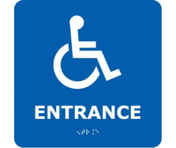 Ada Braille Entrance (W/Handicap Symbol) Blue 8X8