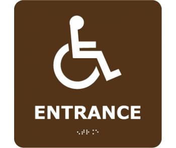 Ada Braille Entrance (W/Handicap Symbol) Brn 8X8