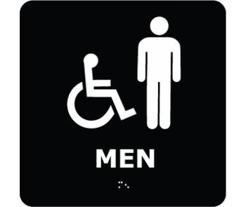 Ada Braille Men (W/Handicap Symbol) Blk 8X8