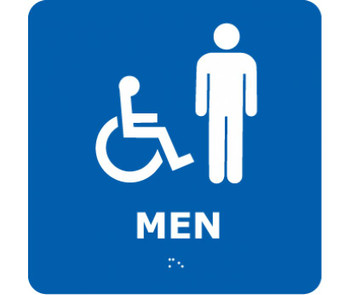 Ada Braille Men (W/Handicap Symbol) Blue 8X8