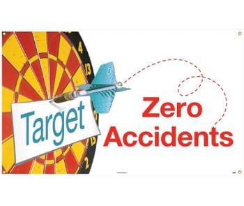 Banner Target Zero Accidents 3Ft X 5Ft.