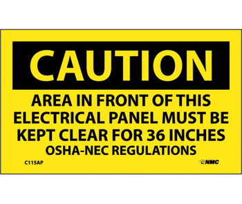 Caution Area In Front Of This Electrical Panel . . . 3X5 Ps Vinyl 5/Pk