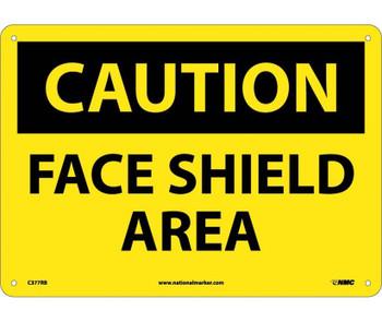 Caution Face Shield Area 10X14 Rigid Plastic
