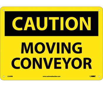 Caution Moving Conveyor 10X14 Rigid Plastic