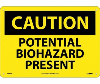 Caution Potential Biohazard Present 10X14 Rigid Plastic