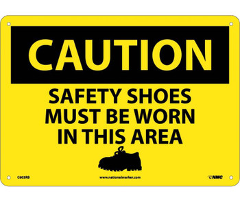 Caution Safety Shoes Must Be Worn In This Area Graphic 10X14 Rigid Plastic