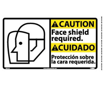 Caution Face Shield Required (Bilingual W/Graphic) 10X18 Ps Vinyl