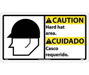 Caution Hard Hat Area (Bilingual W/Graphic) 10X18 Rigid Plastic
