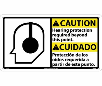 Caution Hearing Protection (Bilingual W/Graphic) 10X18 Rigid Plastic