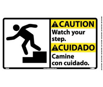 Caution Watch Your Step (Bilingual W/Graphic) 10X18 Ps Vinyl