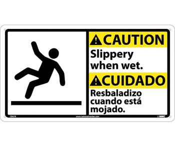 Caution Slippery When Wet (Bilingual W/Graphic) 10X18 Rigid Plastic