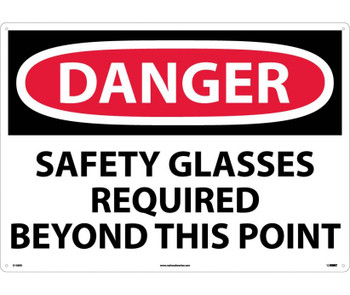 Danger Safety Glasses Required Beyond This Point 20X28 Rigid Plastic