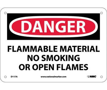 Danger Flammable Material No Smoking Or Open Flames 7X10 .040 Alum