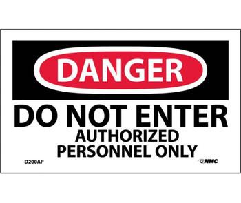 Danger Do Not Enter Authorized Personnel Only 3X5 Ps Vinyl 5Pk