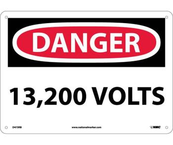 Danger 13,200 Volts 10X14 Rigid Plastic
