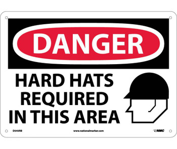 Danger Hard Hats Required In This Area Graphic 10X14 Rigid Plastic