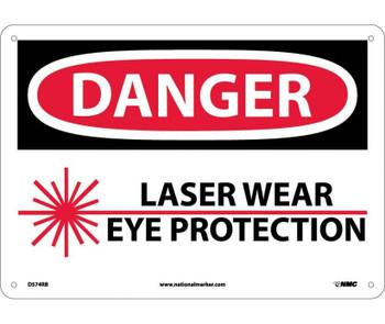 Danger Laser Wear Eye Protection Graphic 10X14 Rigid Plastic