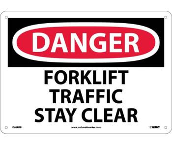 Danger Forklift Traffic Stay Clear 10X14 Rigid Plastic