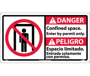 Danger Confined Space Enter By Permit Only (Bilingual W/Graphic) 10X18 Rigid Plastic