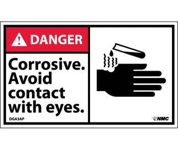 Danger Corrosive Avoid Contact With Eyes (Graphic) 3X5 Ps Vinyl 5/Pk