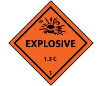 D0T Shipping Label Explosive 1.3C 1 4X4 Ps Vinyl 500/Roll