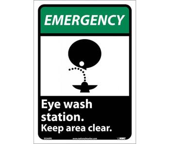 Emergency Eye Wash Station Keep Area Clear (W/Graphic) 14X10 Ps Vinyl