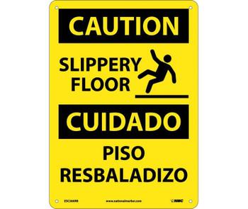 Caution Slippery Floor Bilingual Graphic 14X10 Rigid Plastic