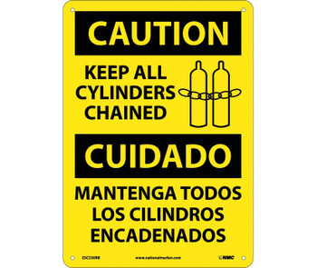 Caution Keep All Cylinders Chained Bilingual Graphic 14X10 Rigid Plastic