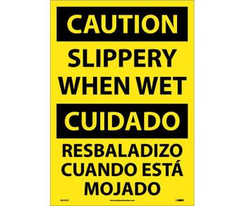 Caution Slippery When Wet (Bilingual) 20X14 Ps Vinyl